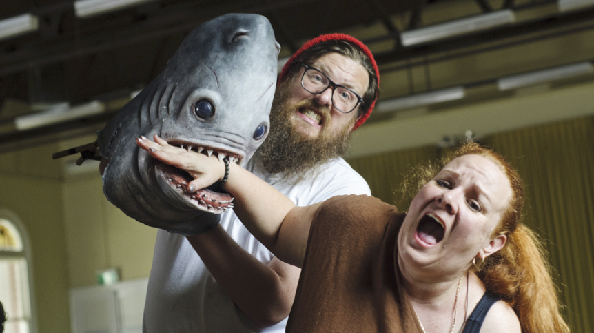 Rennie Watson, Marie Kealy & Terry the Shark.
