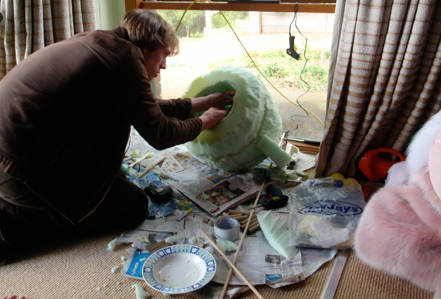 David is hard at work putting together the puppet components of Pinky's head.