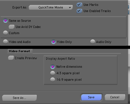 Avid Export Settings