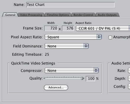 FCP Sequence Settings
